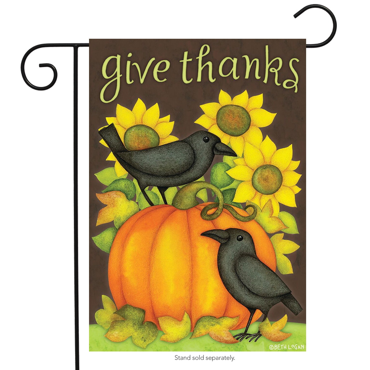 "Give Thanks Crows Primitive Garden Flag Fall Thanksgiving Sunflowers 12.5"" x 18"""