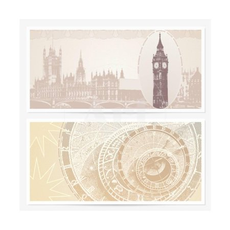 Gift Voucher (Coupon) Template with Guilloche Pattern (Watermarks) and Landmarks Print Wall Art By Flame of life
