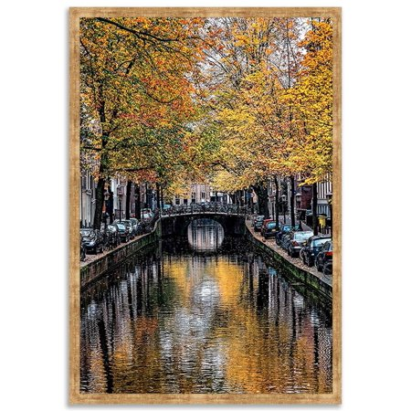 """Canal Reflections"" Photograph Print Mottled Gold Frame Art (26 in. W x 38 in. H (8 lbs.))"