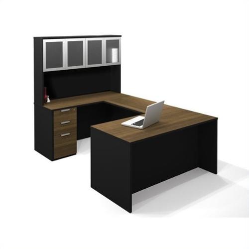 Bestar Pro-Concept U-Shaped Workstation with High Hutch and 1 Assembled Pedestal