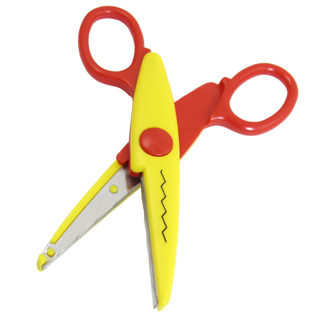 Unique Bargains Students  Paper Crafts Wave  Edge Scissors Shears Red Yellow