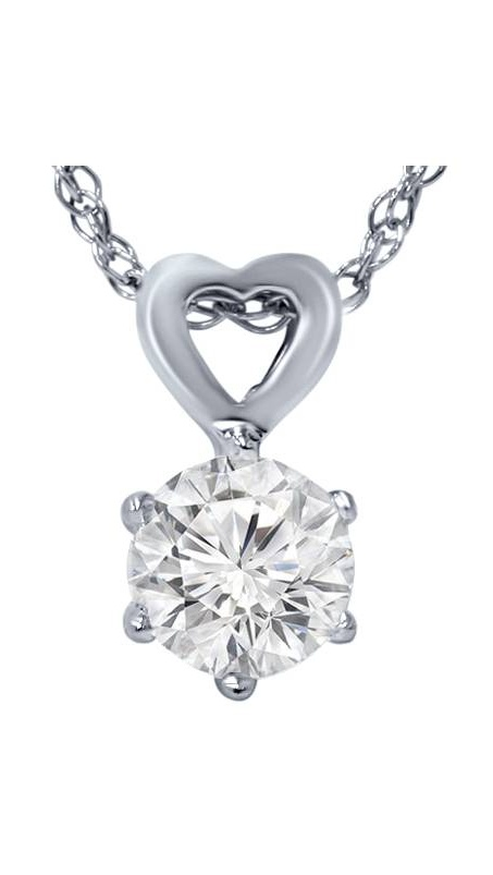 3 8ct Solitaire Diamond Heart Pendant 14K White Gold by Pompeii3