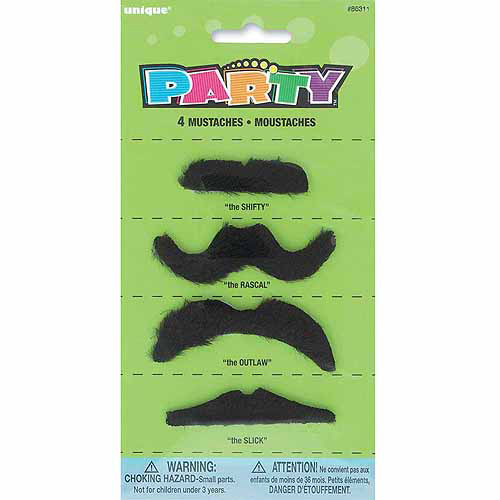 Fake Mustache Party Favors, 4-Count