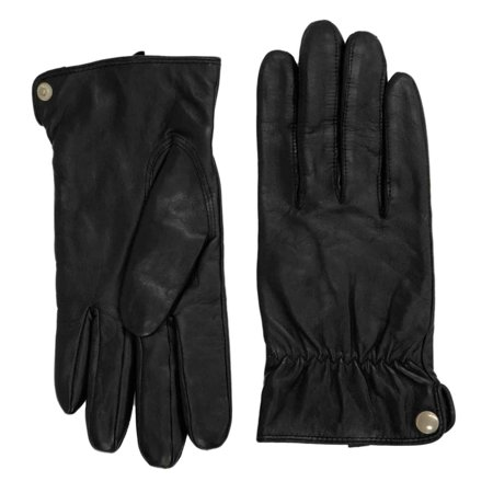 Ladies Leather Driving Gloves - Womens Black Leather & Thinsulate Snap Side Driving Gloves