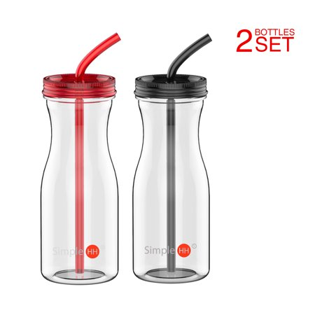 Holiday Season | Tritan Water Bottle With Straw by SimpleHH: BPA Free Cold Drink | Water Container | Dishwasher-Safe Tumbler | Extra Wide Mouth w/ Easy Twist Lid | 33oz | Red - Tumblers With Lids And Straws
