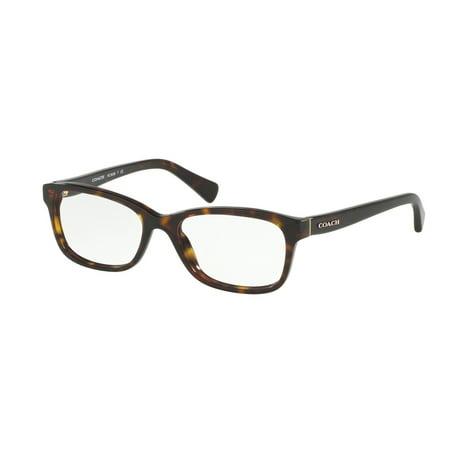 Coach 0HC6089F Optical Rectangle Womens Eyeglasses - Size 51 (Dark Tortoise / Transparent)