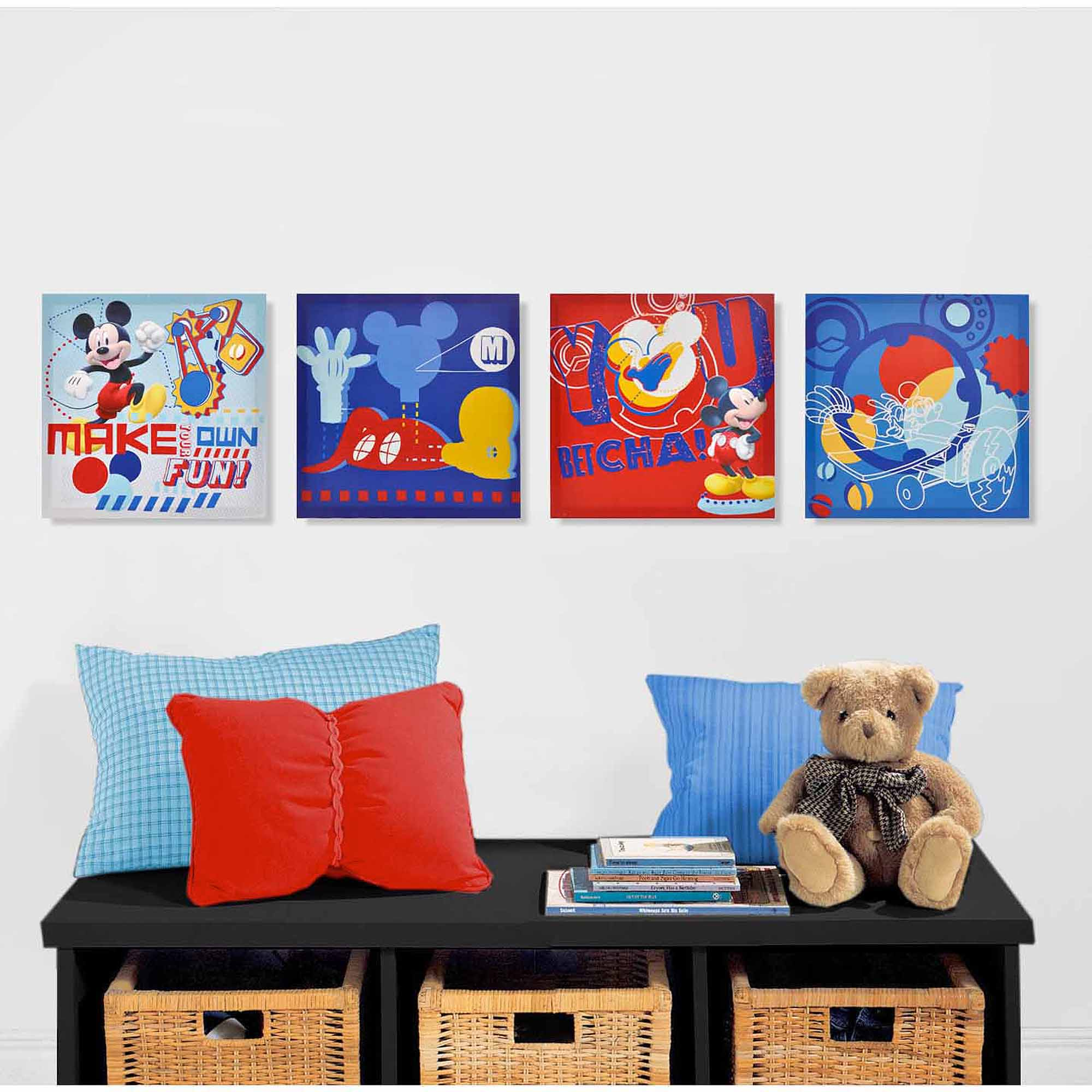 Disney Mickey Mouse 4 Piece Canvas Wall Art