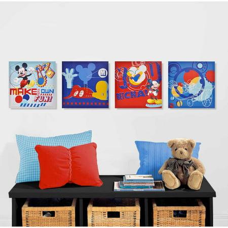 Disney Mickey Mouse 4-Piece Canvas Wall Art