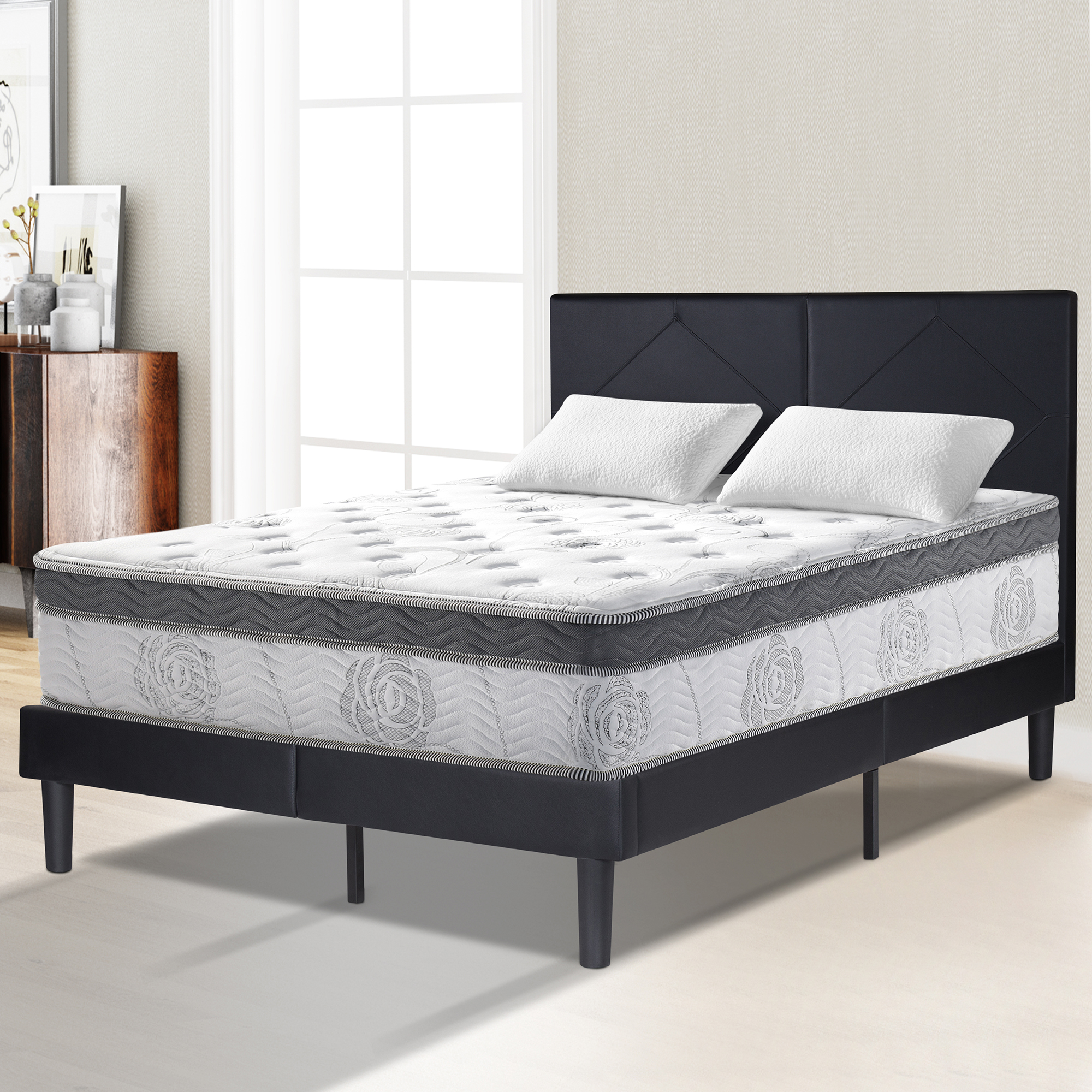 Sleeplace 13 in Galaxy Euro Box Top Pocket Spring Hybrid Mattress ,Full