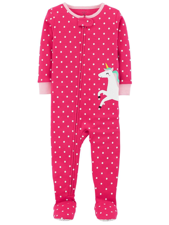Carter S Carters Toddler Girls Pink Polka Dot Unicorn Sleeper Cotton Footie Pajamas Walmart Com Walmart Com