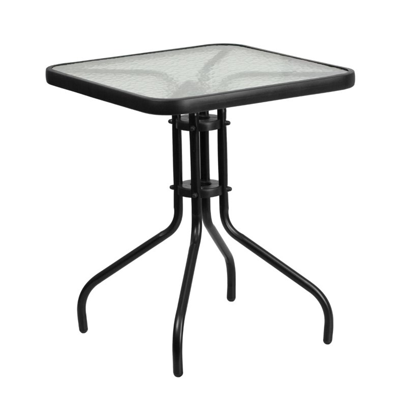 """Bowery Hill 23.5"""" Square Glass Top Patio Dining Table in Black"""