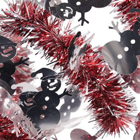 SKD Party Holiday Decoration Christmas Snowman 9' Tinsel Garland, Red (Snowman Party Decorations)