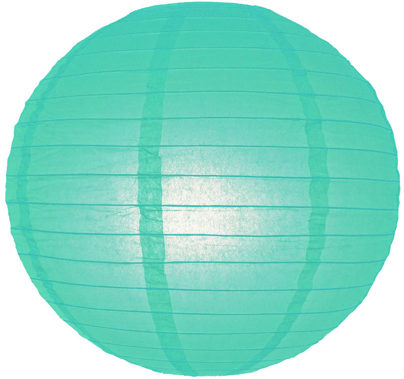 "10"" Water Blue Even Ribbing Round Paper Lantern (10 PACK)"