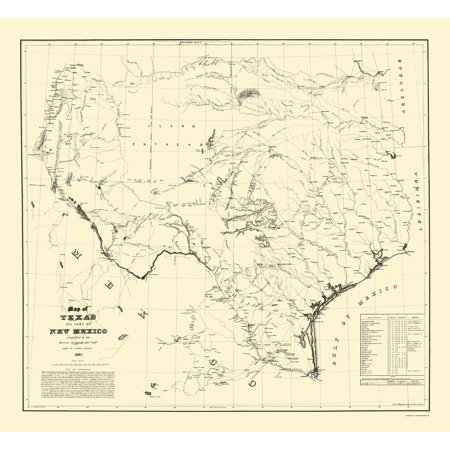 State Map Of Tx.Old State Map Texas Eastern New Mexico Dunnovant 1857 23 X