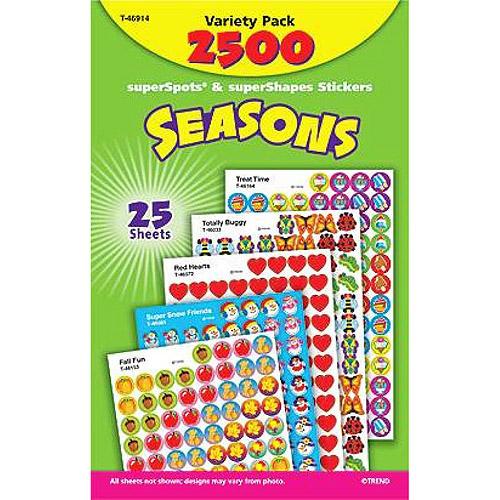 Trend Enterprises Seasons Sticker Variety Pack, Pack of 2500