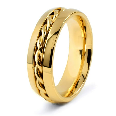 Coastal Jewelry Gold Plated Stainless Steel Twisted Rope Ring (7mm) (Gold Twist Ring)