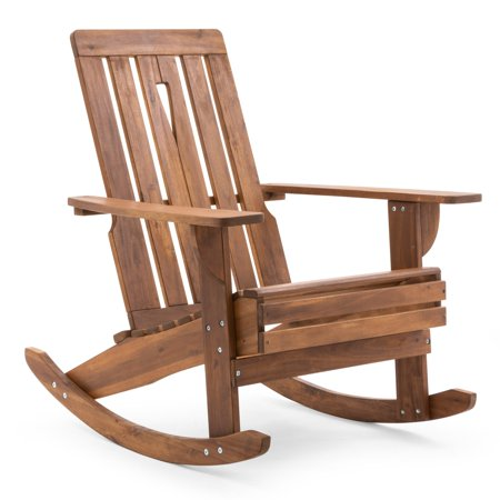 Belham Living Carlsbad Adirondack Rocking Chair Spend your free time outdoors with the Belham Living Carlsbad Adirondack Rocking Chair. Perfect for relaxing after a long day, this Adirondack chair boasts a rocking mechanism for added comfort. The teak finish brings out the natural beauty of the wood while also complementing any decor. Add your favorite throw pillow or cushion to give this Hayneedle exclusive piece a personal touch. Strong and durable, the acacia wood construction ensures this rocking chair will last.