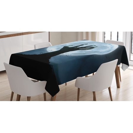 Halloween Decorations Tablecloth, Zombie Earth Soil Full Moon Bat Horror Story October Twilight Themed, Rectangular Table Cover for Dining Room Kitchen, 60 X 84 Inches, Blue Black, by Ambesonne