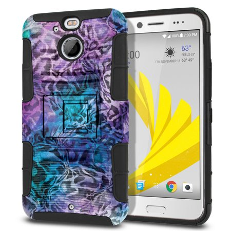 "FINCIBO Dual Layer Hybrid Armor Case Cover Stand for HTC Bolt / 10 Evo 5.5"", Abstract Leopard Skin"