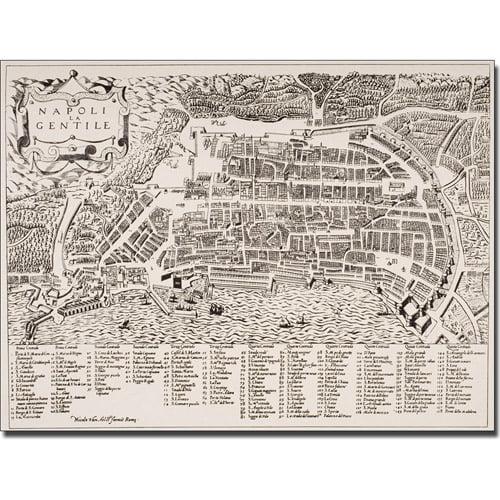 Trademark Art 'Map of Naples, 1600' Canvas Art