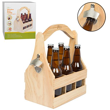 - Wooden Beer Caddy Carrier w/ Bottle Opener and Removable Inserts