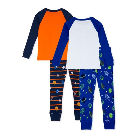 Wonder Nation Baby Boys & Toddler Boys Snug Fit Cotton Long Sleeve Pajamas Set, 4-Piece, Sizes 12M-5T