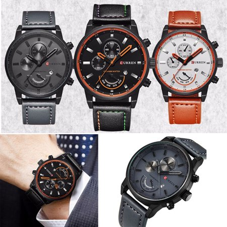 Luxury Curren Casual Men's Date Quartz Analog W/ Leather Strap Mens Wrist (Analog Leather Wrist Watch)