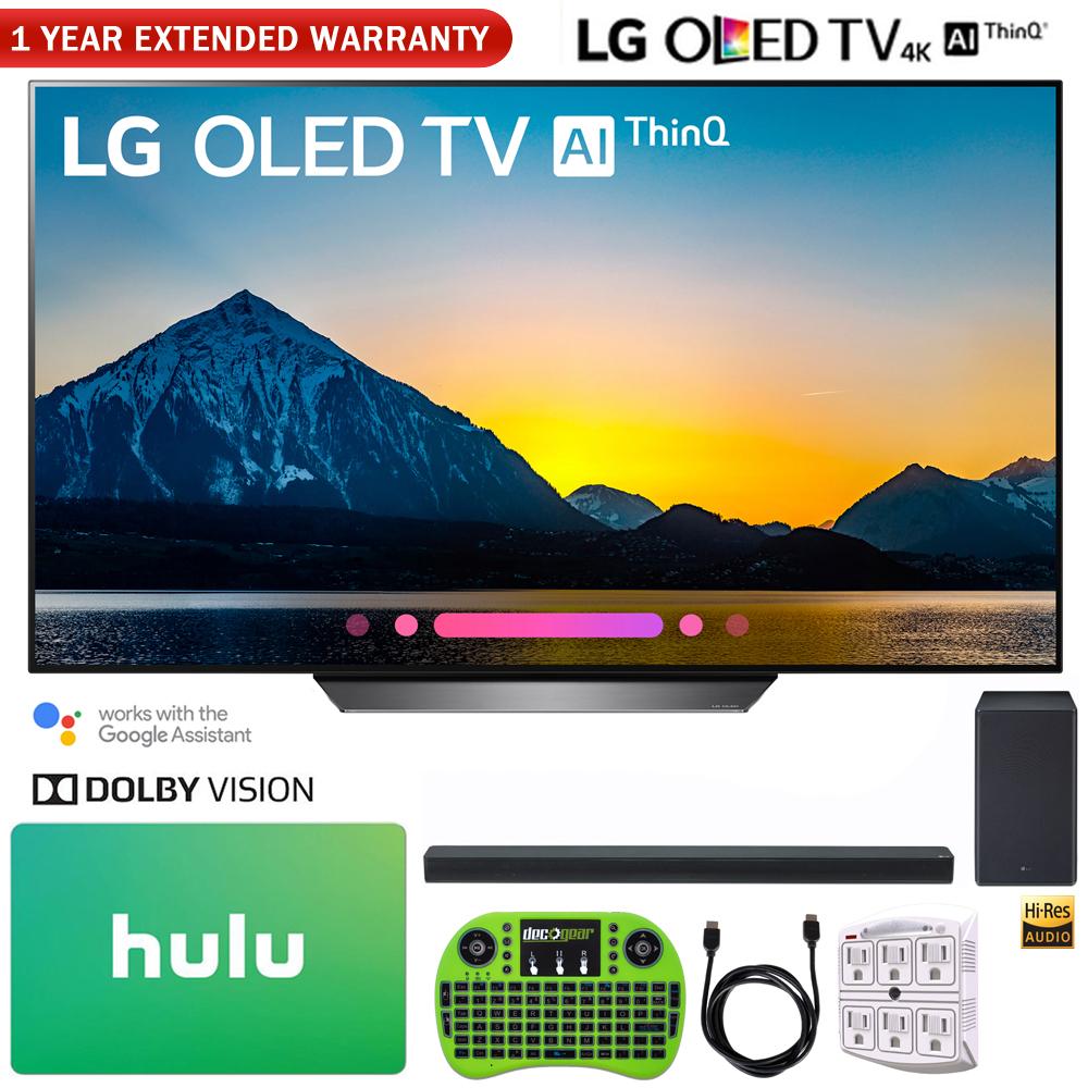 "LG OLED55B8PUA 55"" Class B8 OLED 4K HDR AI Smart TV (2018) + LG SK8Y 2.1-Channel Hi-Res Audio Soundbar with Dolby Atmos + Hulu $100 Gift Card + More"