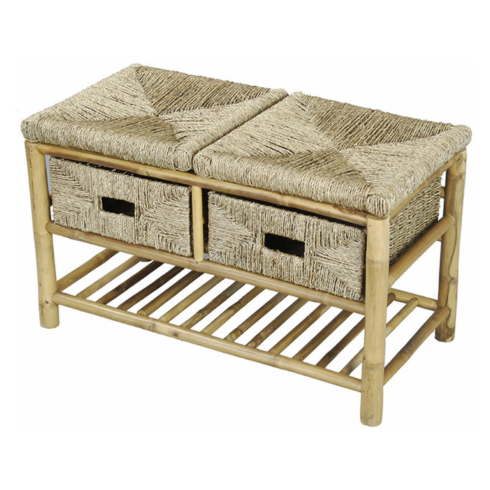 Heather Ann Creations Kaleo Bamboo And Seagrass Open Frame 2 Basket Storage  Bench
