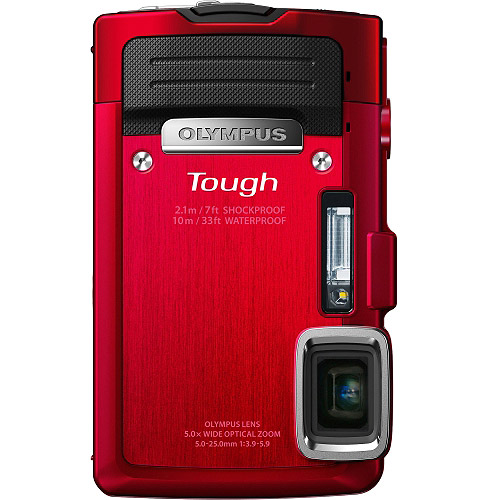 Refurbished Olympus Stylus TG-830 iHS Digital Camera with 5x Optical Zoom and 3-Inch LCD (Red) (Old Model)
