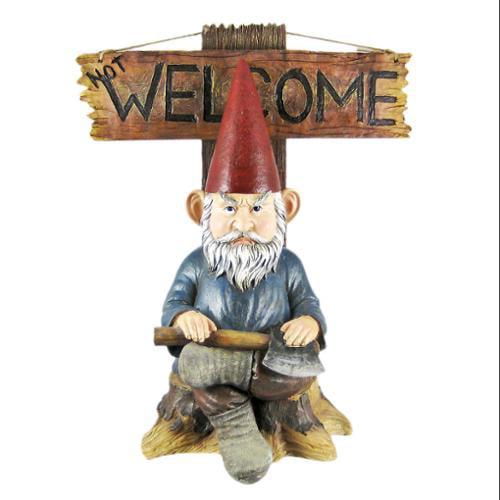 Go Away Garden Gnome Un-Welcome Garden Statue by DWK Corporation