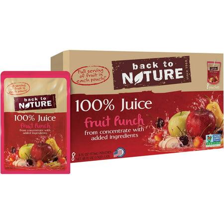 Back to Nature 100% Juice, Fruit Punch, 6 Fl Oz, 8 Count