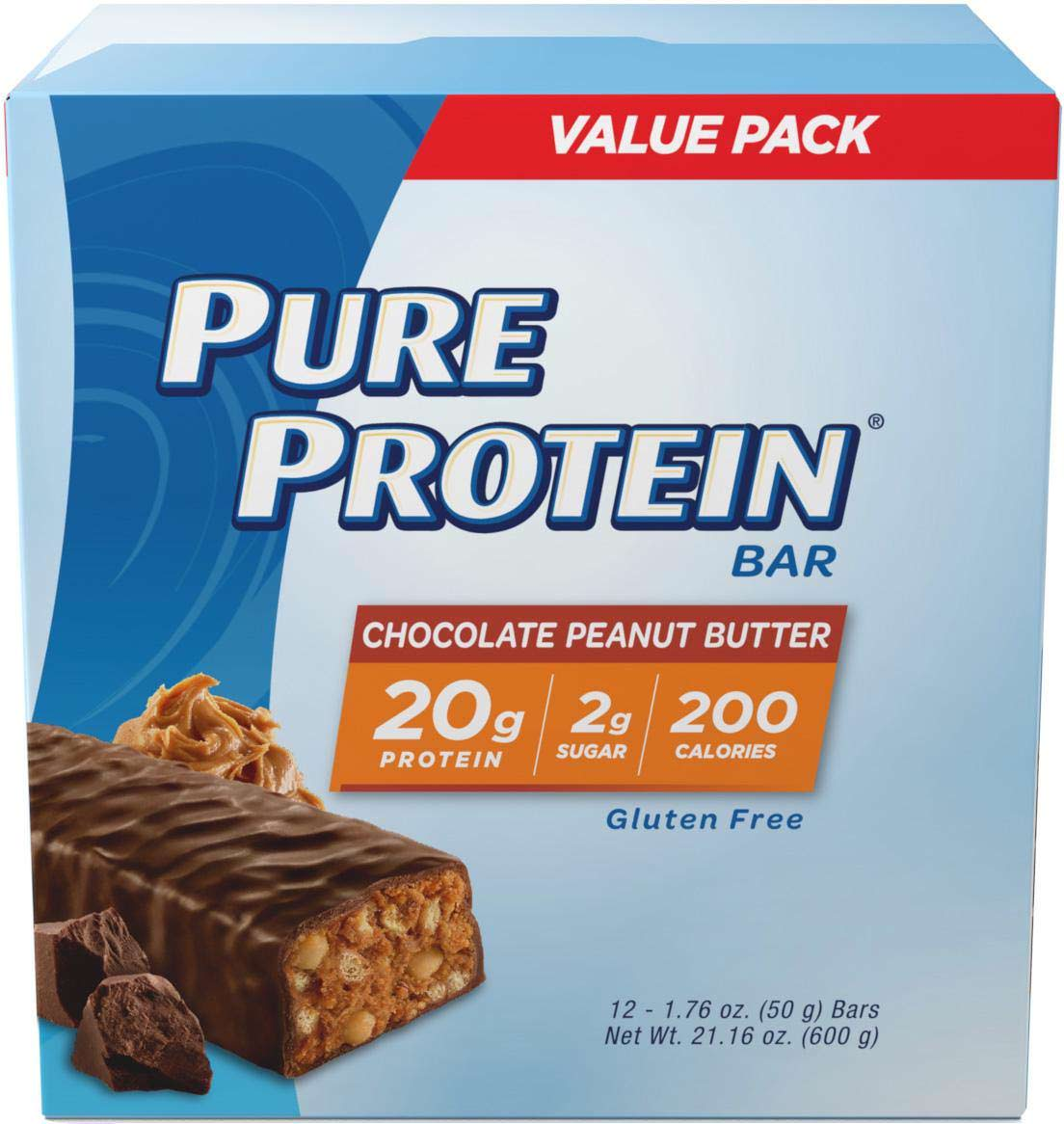 Pure Protein High Protein Bar, Chocolate Peanut Butter, 20g Protein, 12 Ct