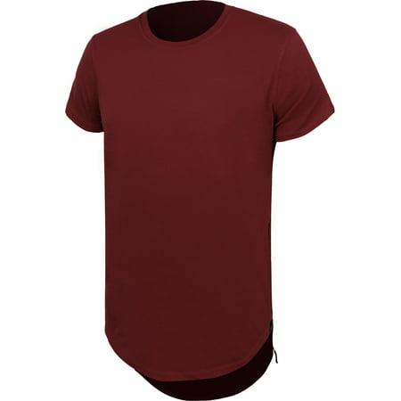 Mens Extended Hipster T Shirt Drop Tail Scallop Hem Elong Casual Crewneck Hip Hop Long Tee