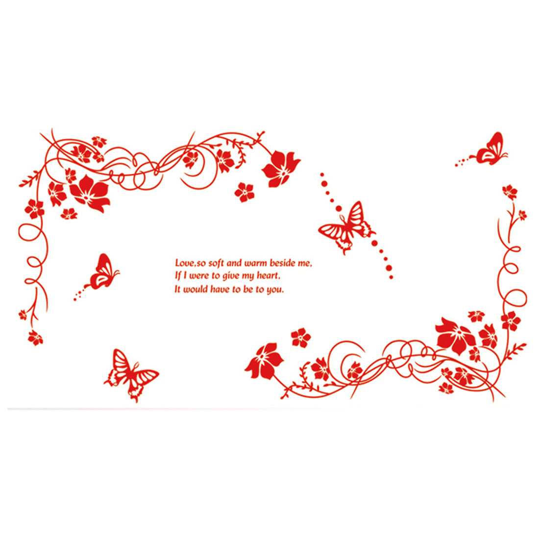 Unique Bargains Flower Rattan Butterfly Pattern Window Living Room Art Decal Wall Sticker Decor
