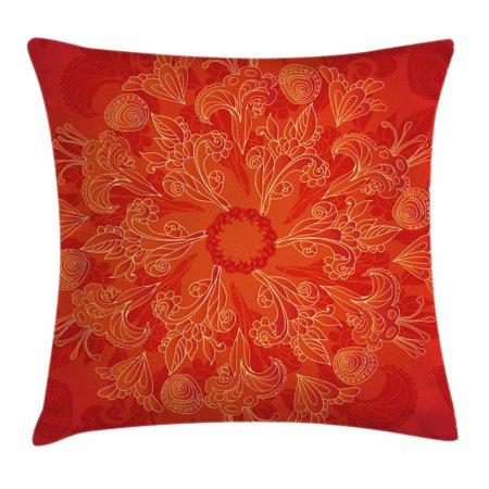 (Red Mandala Throw Pillow Cushion Cover, Vibrant Colored Doodle Style Nature Figures Romantic Abstract Bouquet Art, Decorative Square Accent Pillow Case, 16 X 16 Inches, Scarlet Orange, by Ambesonne)