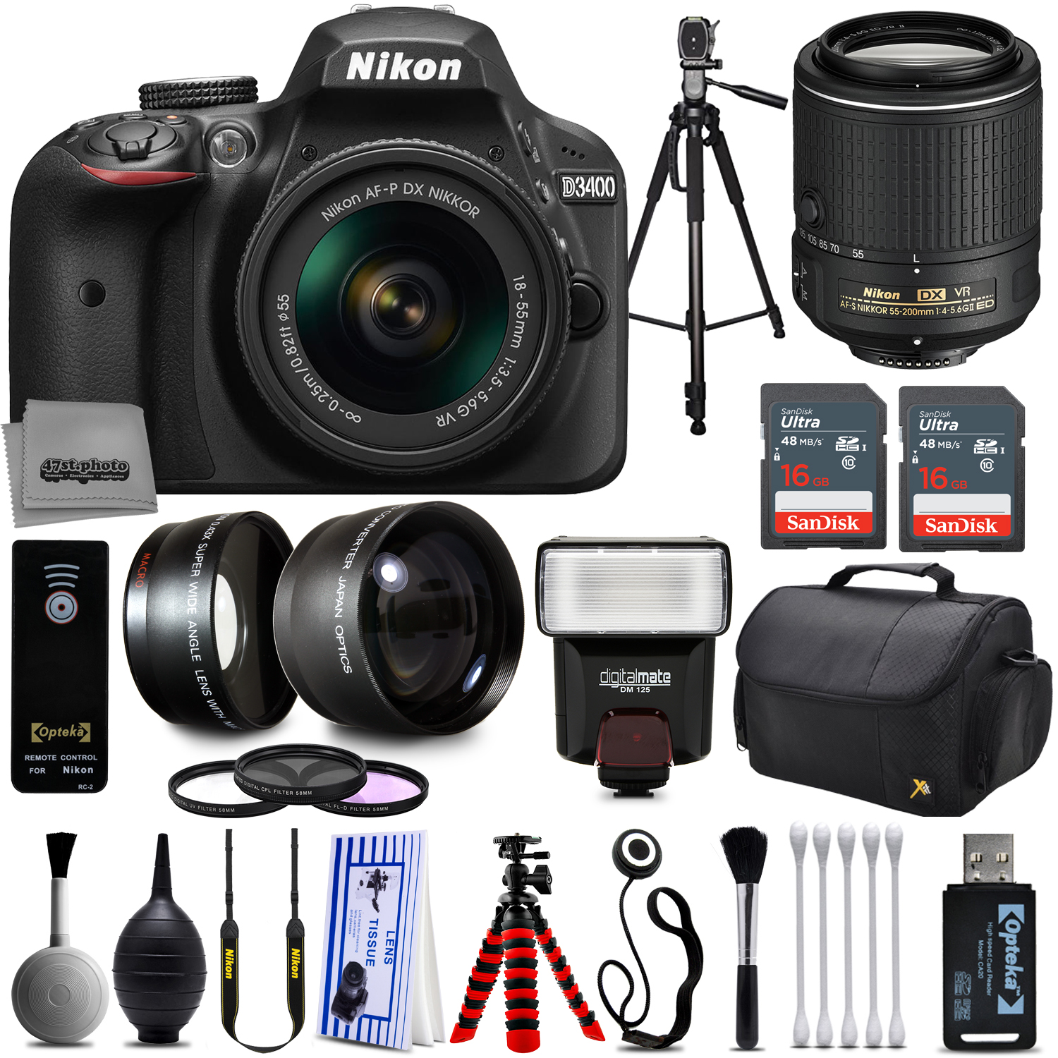 Nikon D3400 DSLR Camera + 18-55mm and 55-200mm AF-P DX VR...