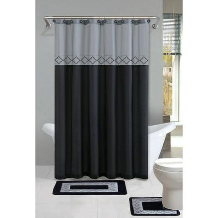 Two Piece Showers (Kadir Black & Silver Diamond 15-Piece Bathroom Accessory Set: 2 Bath Mats, Shower Curtain & 12 Fabric Covered)