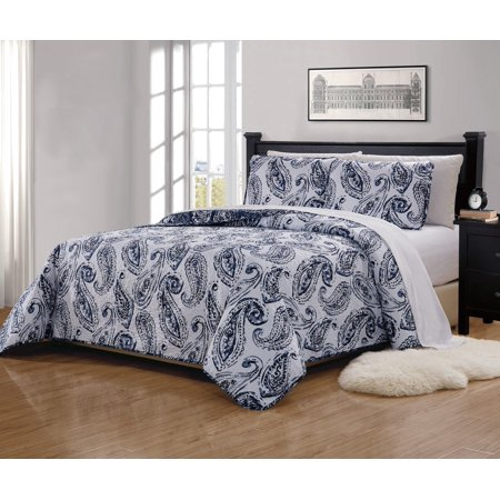Gorham White Paisley - Fancy Linen 3pc King/California King Bedspread Quilted Print Floral Paisley Flower White Navy Blue Reversible Over Size New # Ellen 63