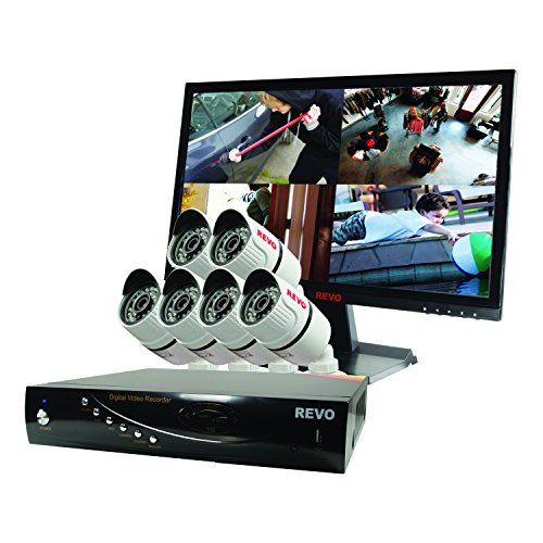 Revo RT81B6GM22-1T T-HD 8-CH 2TB DVR Surveillance System with 6 T-HD 1080p Bullet Cameras (White)