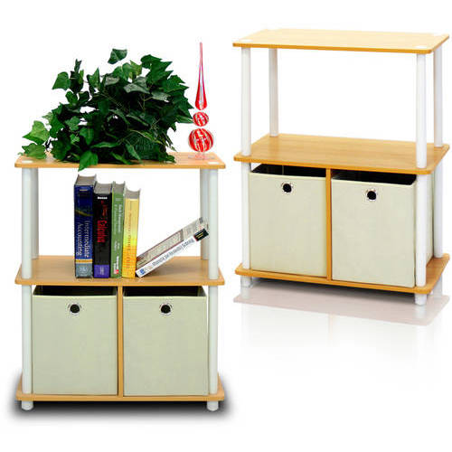 Furinno Go Green 3-Tier 2-Bin Multi-Purpose Storage Shelf, Set of 2, Multiple Colors