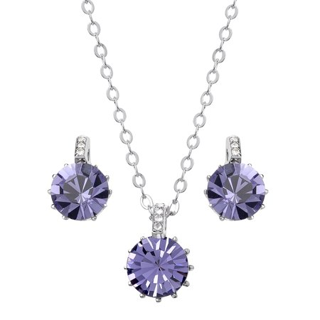 FINE SILVER PLATED PURPLE CRYSTAL PD/EAR SET, 18