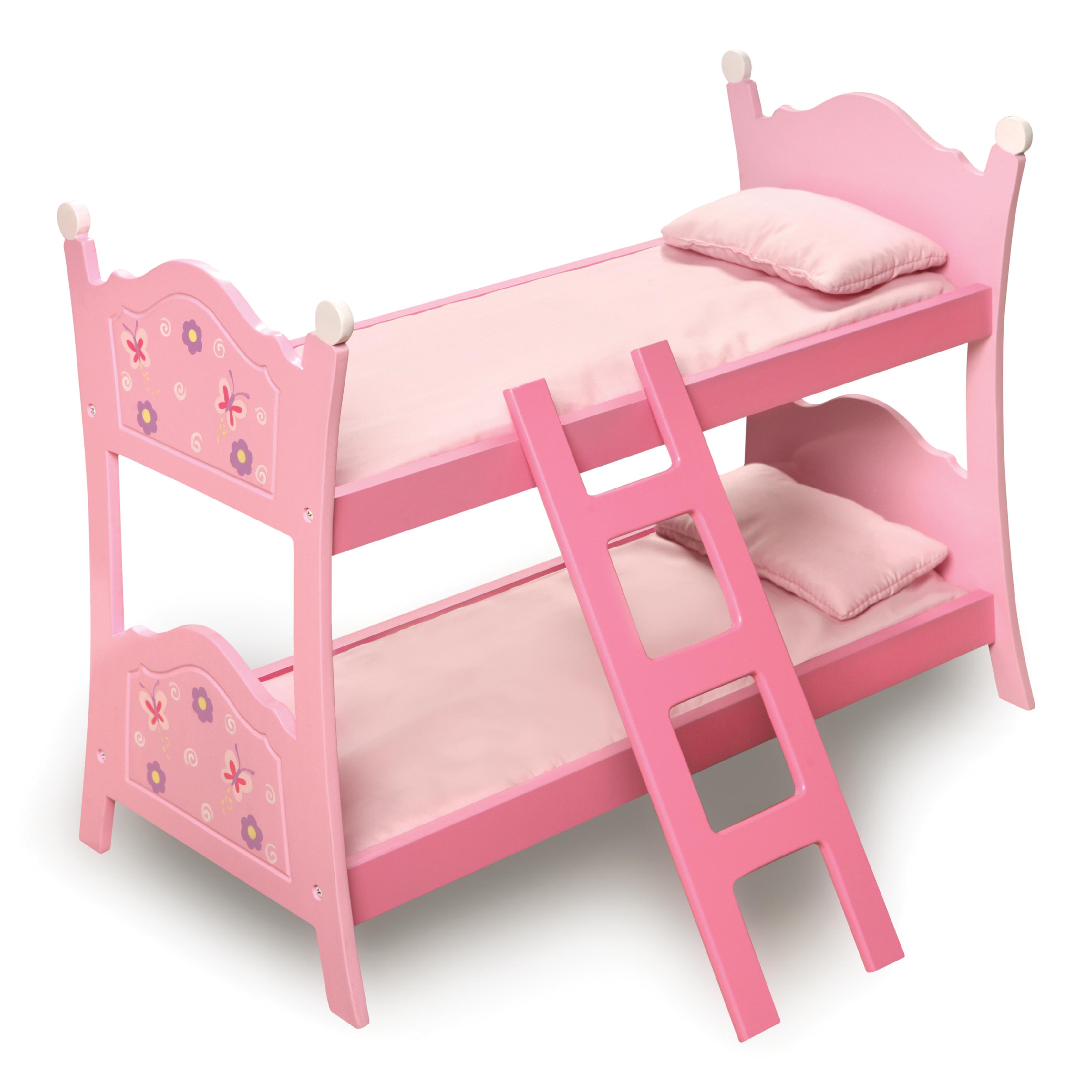 "Badger Basket Blossoms and Butterflies Doll Bunk Bed with Ladder and Bedding - Pink - Fits American Girl, My Life As & Most 18"" Dolls"