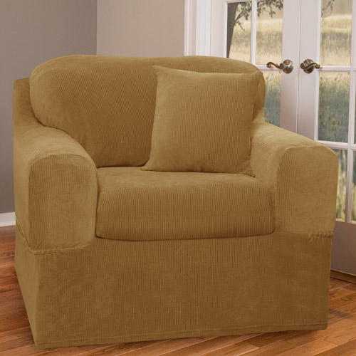 Maytex Stretch Collin 2 Piece Armchair Furniture Cover Slipcover, Gold