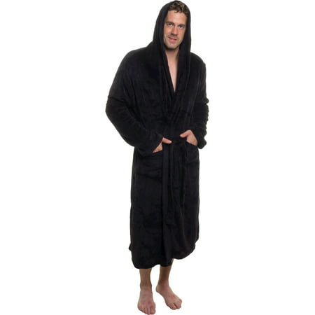 (ROSS MICHAELS Mens Plush Shawl Kimono Bathrobe Hooded Robe)