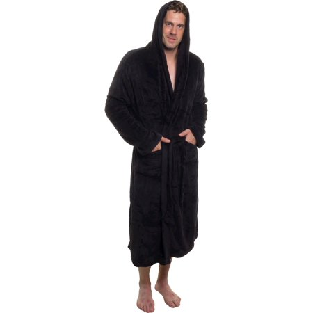 ROSS MICHAELS Mens Plush Shawl Collar Kimono Hooded Bath Robe (Black, - Pope Robes