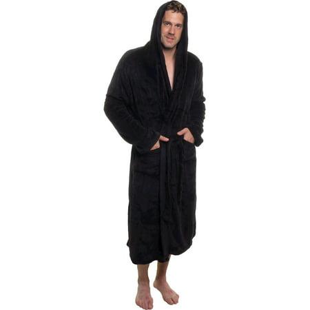 ROSS MICHAELS Mens Plush Shawl Kimono Bathrobe Hooded Robe - Mens Hooded Bathrobe