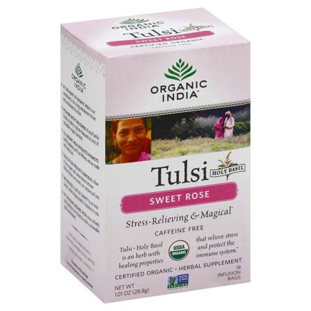 Organic India Tulsi Holy Basil Sweet Rose Herbal Supplement Infusion Bags, 1.01