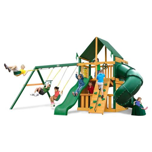 Swing Set with Sunbrella Canvas Forest Green Canopy