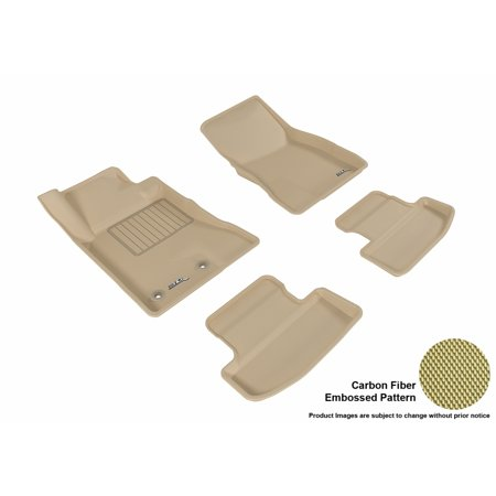 3D MAXpider 2015-2017 Ford Mustang Front & Second Row Set All Weather Floor Liners in Tan with Carbon Fiber Look